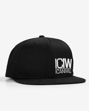 Cotton Snapback Cap Black/White