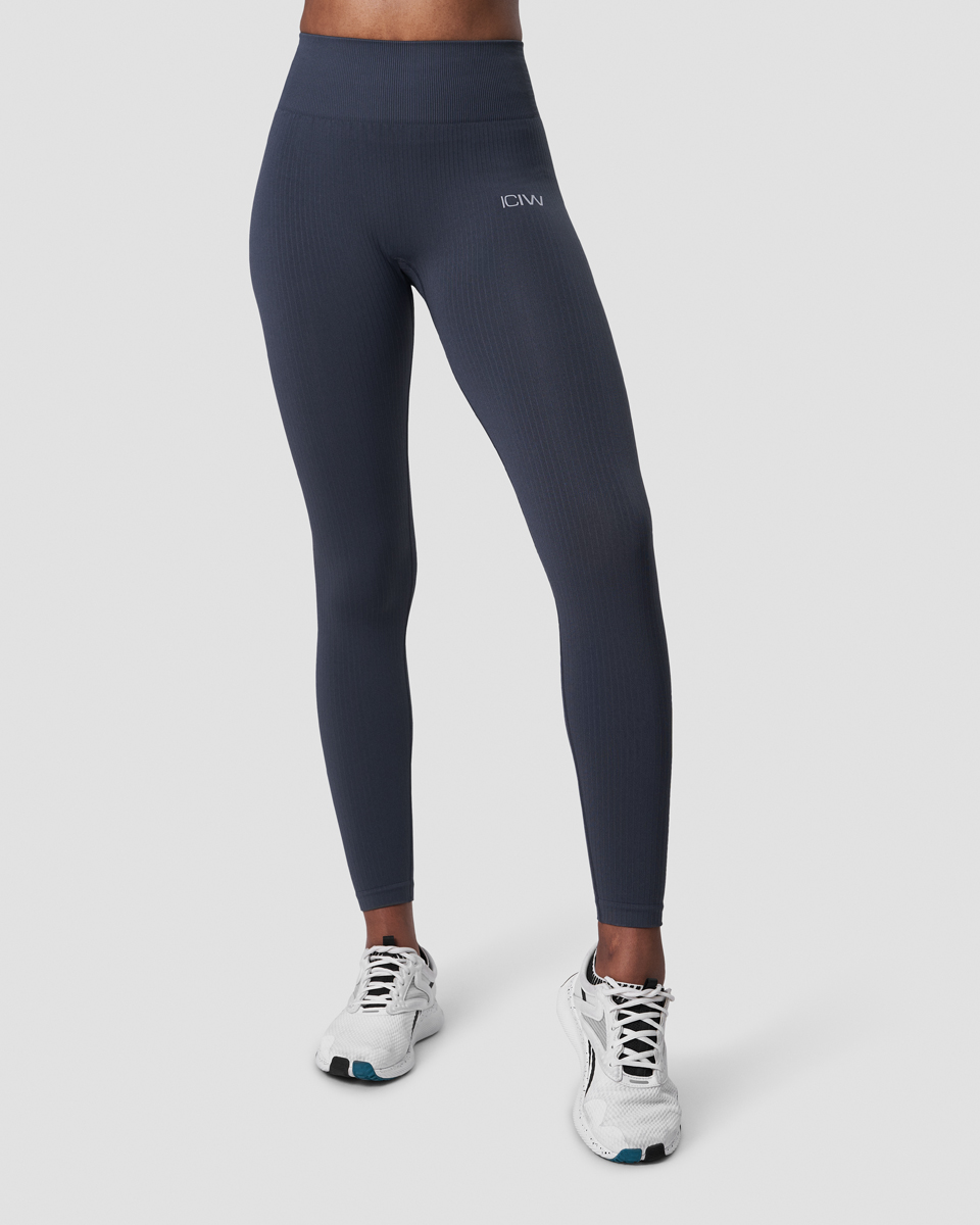 Ribbed Define Seamless Tights Smokey Blue Wmn