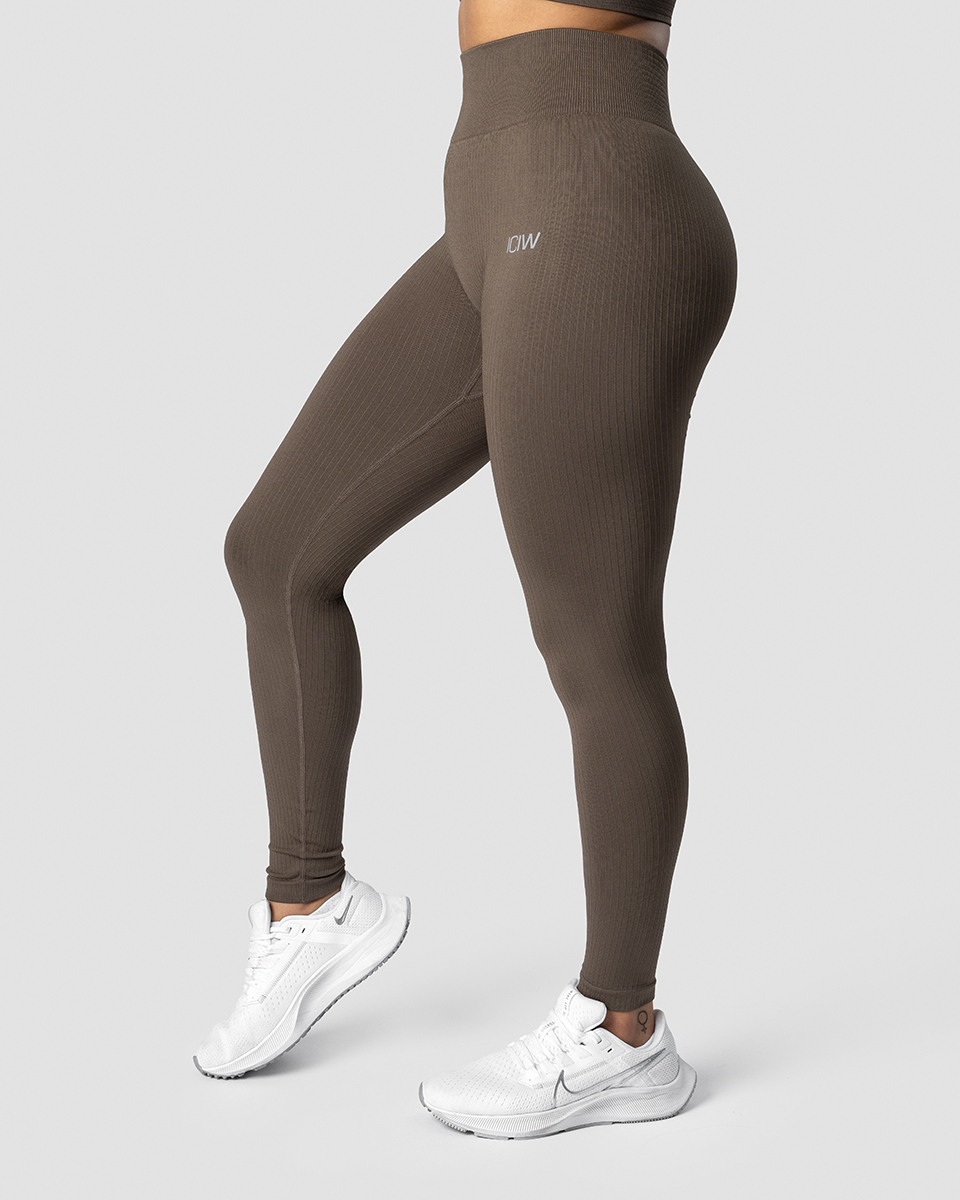 Ribbed Define Seamless Tights Dark Sand Wmn