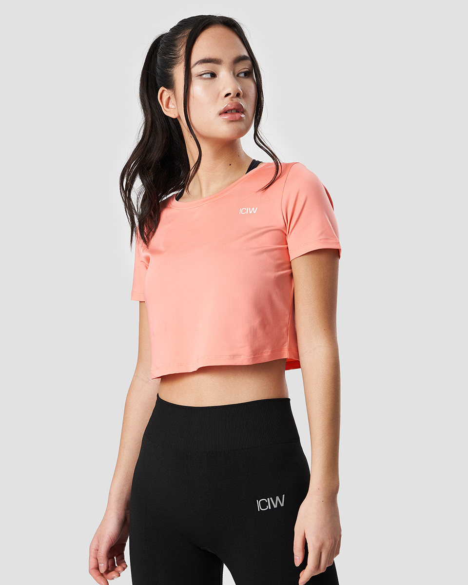 Training Crop Top Coral Wmn